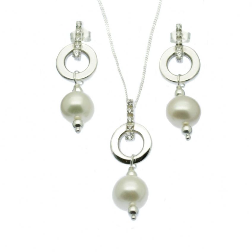 Pearl Pendant & Drop Earring Set Sterling Silver Circle with CZ